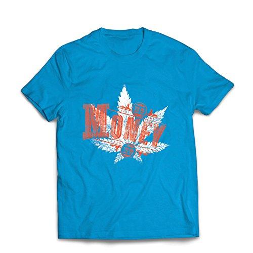 Männer T-Shirt kein Geld kein Spaß - Cannabisblatt - rauchendes Gras - gemeinsame Zitate - Marihuana-Slogan (X-Large Blau Mehrfarben)