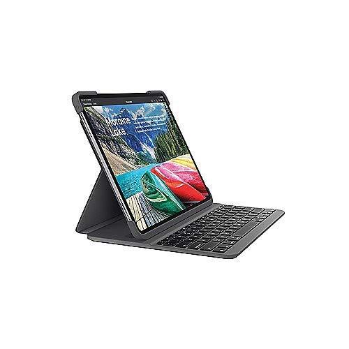 Logitech Slim Folio Pro kabelloses Bluetooth-Tastatur-Case (mit Hintergr&beleuchtung, für iPad Pro 12.9 Zoll, Deutsches layout, 3. Generation) schwarz