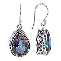 beiguoxia Gorgeous Earrings Fashion Women Multicolor Waterdrop Pear Faux Topaz Hook Dangle Earrings Jewelry - Multicolor Earrings