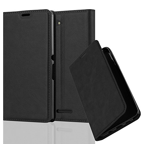 Cadorabo Hülle für Sony Xperia E3 - Hülle in Nacht SCHWARZ – Handyhülle mit Magnetverschluss, Standfunktion und Kartenfach - Case Cover Schutzhülle Etui Tasche Book Klapp Style
