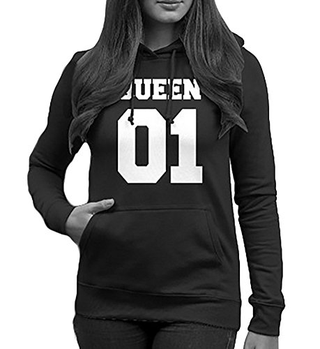 Tomwell King Queen Aufdruck Sweatshirt Pärchenpullover Set Hoodie mit Kaiserkrone Hoodie Damen Herren Kapuzenpullover mit Tasche E Queen 01 EU S