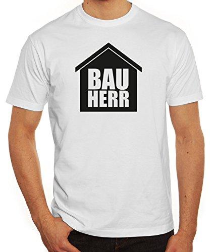 Eigenheim Herren T-Shirt mit Bauherr Motiv von ShirtStreet Weiß
