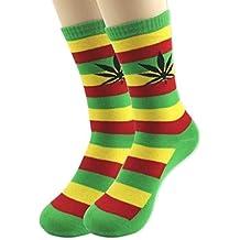 Diseño de calcetines Weed marihuana rojo oro verde Rasta estilo
