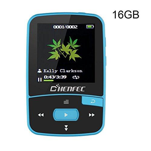 Clip MP3-Player Bluetooth 16 GB mit Sports Music Player Shuffle Spielen Musik und FM, erweiterbar SD-Slot 64 GB, - Mp3-player Mit Shuffle