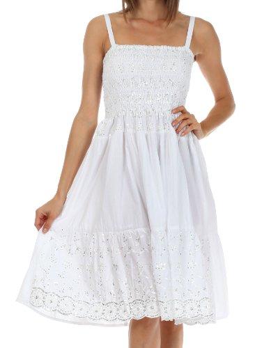Sakkas 6502 Pailletten bestickt Smok Mieder Knie-Länge Kleid für Damen-Weiß-einer Größe (Weiße Baumwoll-kleid Für Tie Dye)