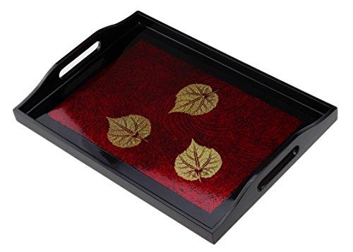 Plateau de service/plateau en bambou avec anses, Bambou, noir/rouge, 42.8 x 31.7cm