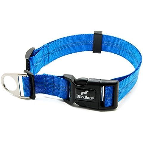BLACKDOGGY collare di cane solido di nylon di base classica fibbia regolabile collare dell'animale domestico, il guinzaglio di corrispondenza e cablaggio disponibili separatamente (blu)