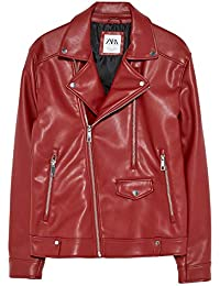 3127e296 Zara Men's Faux Leather Biker Jacket 1966/400 Red