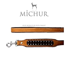 MICHUR Strike LEINE Dog Leash Leather, Leash, Leather Leash, SUITABLE TO STRAP COLLAR Strike, Beige, Black, WIDE LEATHER SIZE (approx.) 120x2,5cm, suitable for collar Strike No.1