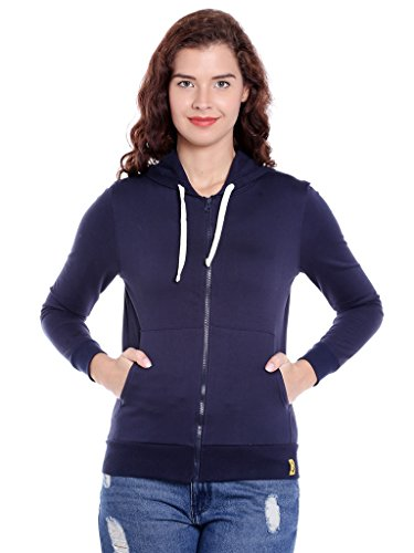 Campus Sutra Women's Zipper Hoodie (AZZW17_ZH_W_PLN_BU_AZ_M)
