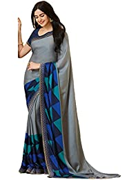 KAMELA SAREE women's silk material Gray colour Printed Party wear saree With Blouse