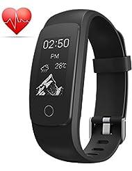 Minhe Fitness Armband mit Herzfrequenz Monitor, Smart Bracelet Pulsuhren Aktivitätstracker Schrittzaehler Schlafmonitor Kalorienzähler Smartwatch fur iPhone & Android