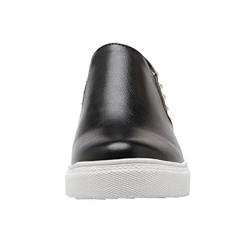 Pelle Scarpe In Leggere Tira Nero Scamosciata Basso Donna Voguezone009 Patchwork Tacco 8Cq66X
