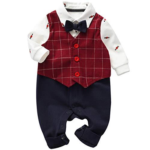 famuka Baby Junge Anzüge & Sakkos Neugeborene Smoking Taufe Hochzeit Babybekleidung (Rot, 9-12Monate/73cm)