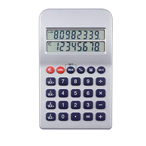 Taschenrechner mit Euro Umrechner Doppeltes Display (8 Stellen, Batterie, Umrechnungsfunktion, Tischrechner) - 8-stellige Anzeige Große Taschenrechner