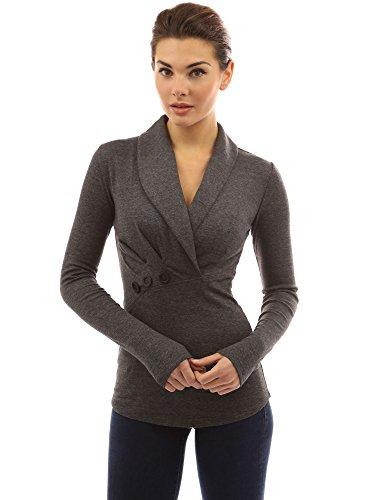 PattyBoutik Damen Schalkragen Bluse mit Wickeloptik und Langen Ärmeln (dunkelgrau meliert M 40)