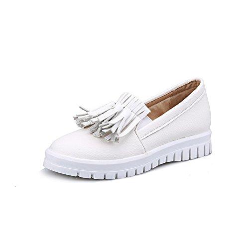 VogueZone009 Damen Ziehen Auf Pu Leder Rund Zehe Mittler Absatz Fransig Pumps Schuhe Weiß