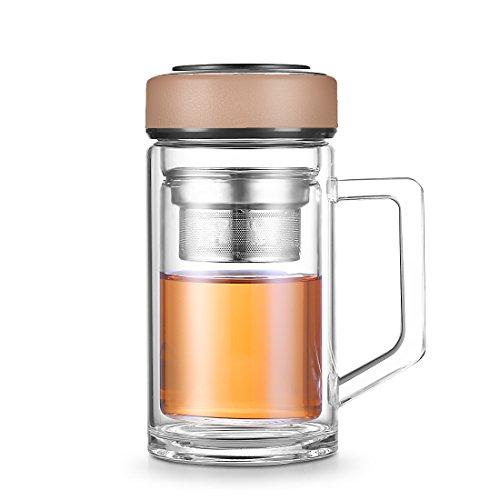 JiaQi Tee-Ei Flasche mit Griff, doppelwandiges Glas Tumbler mit Edelstahlsieb und Lecksicher und Schraube Soft Touch Gummierte Grifffläche Gap, edelstahl, Brown Cap, - Wand-glas-tee-reise-becher