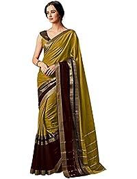 Indira Designer Women's Mustred Color Art Cotton Silk Saree With Blouse