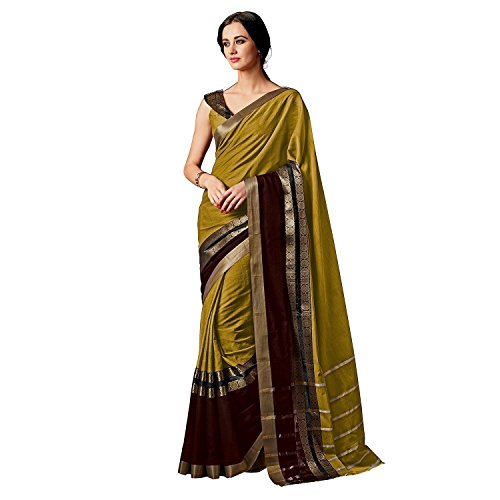 Indira Designer Women's Mustred Color Art Cotton Silk Saree With Blouse