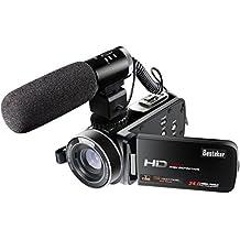 Kamera Camcorder, Besteker FHD 1080P Tragbare Digitale Videokamera WIFI-Verbindung, Gesichtserkennung, 24,0 MP, 16X Digitales Zoom mit 3,0 Zoll TFT-LCD-Touchscreen und Externem Mikrofon