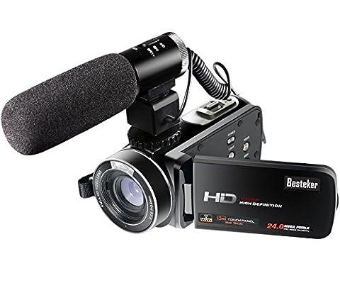 Besteker Wifi Caméscope Full HD 1080P 30FPS Caméra Vidéo Numérique