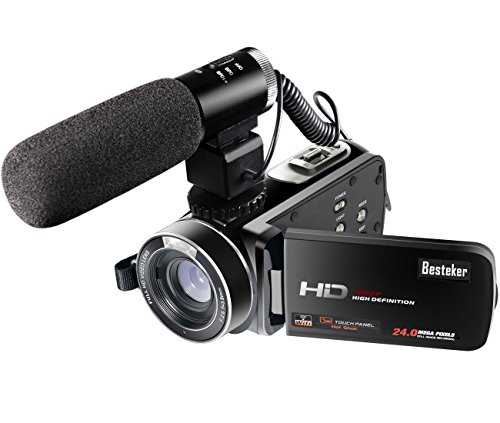 Besteker Wifi Caméscope Full HD 1080P 30FPS Caméra Vidéo Numérique Portable Avec Microphone Externe