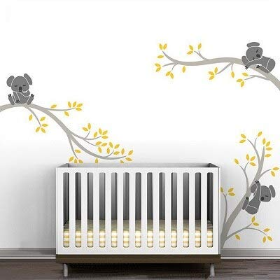 Cute 3 Koalas Tree Branches Nursery Wall Stickers Wall Art Decals Amovable Diy Vinyl Poster For Baby Kids Room Home Decoration (en) couleur 2