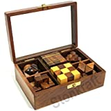 Stonkraft 6-in-One Wooden Puzzle Games Set 3D Puzzles For Teens And Adults.