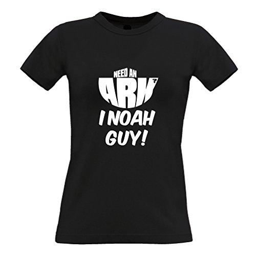 Hai bisogno di uno slogan arca I Noah Guy Christian religiosi Pun Bibbia Joke T-Shirt Da Donna Black