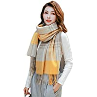 Nwn Bufanda de Invierno para Mujer New Plaid Wild Wool Thickl Dual Purpose (Color : A)