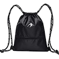 LIOOBO Mochila con cordón Deportivo Gym Bag Yoga Sackpack Mochila de Baloncesto para Hombres, Mujeres, niños, de Gran tamaño (Negro)