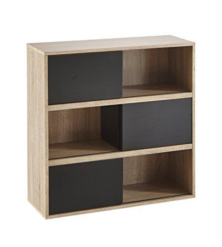 Demeyere-211514-Mobiletto-in-legno-di-quercia-a-3-ripiani-con-antine-scorrevoli-bianche-in-pannelli-di-truciolato-785-x-785-x-30-cm-Beige-Natur