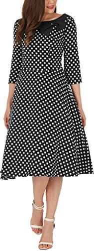 'Iris' 50's Polka-Dots Kleid mit besetztem Ausschnitt - 5