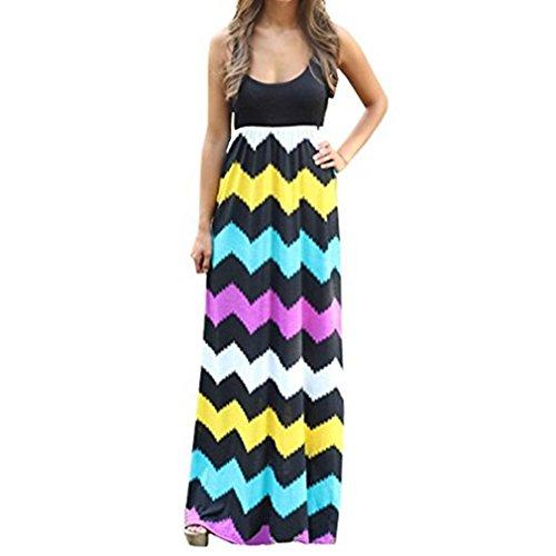 Damen Sommerkleid Kleider Maxikleid Streifen Schulterfrei Rundhals High Waist Lang Kleid Partykleid...