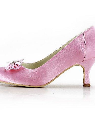 WSS 2016 des talons aiguilles chaussures de soie talon / talons bout rond mariage / fête des femmes&soirée / robe rose 2in-2 3/4in-pink