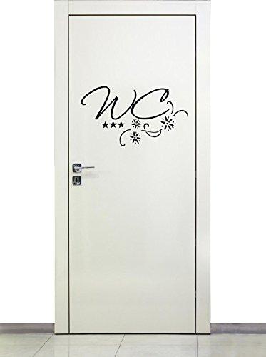 Wandtattoo Toilette Text WC Tür Bad 72017-58×29 cm, Türaufkleber mit Sternen, Beschriftung, Wandaufkleber Aufkleber für die Wand, Tapetensticker aus Markenfolie, 32 Farben wählbar