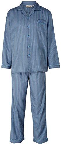 Mens gestreift 100 % Baumwolle 140 GSM Langarm Druckschaltfläche bis Kragen klassische graue Pyjama XL (Graue Herren-walker)