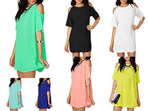 Smile YKK Couleur Uni Robe Vogue Épaule Nu Col Rond Manche Demi Jaune