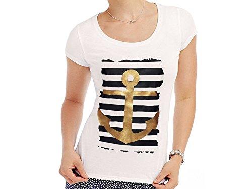 Tachinedas Kreativshop Damen T-Shirt mit Druck Anker (S) - Damen Nautische Streifen-shirt