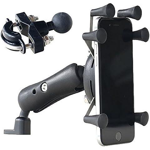 iisport Soporte de la motocicleta /bici /scooter para todos los tipos de teléfono móvil con rotación de 360 grados, soporte anti-robo (instalado en el espejo