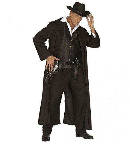 Kostüm Kopfgeldjäger Cowboy Mantel und Weste schwarz Hunter, Größe:L (Bounty Hunter Kostüm)