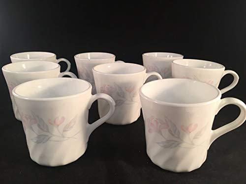 Corning Pink Trio Kaffeetassen mit Blumenmuster, 8,9 cm hoch, 7,6 cm Durchmesser, 8 Stück Corning Pink Trio