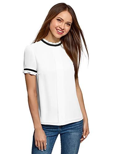 oodji Ultra Mujer Blusa de Tejido Fluido con Acabado en Contraste, Blanco, ES 36 / XS