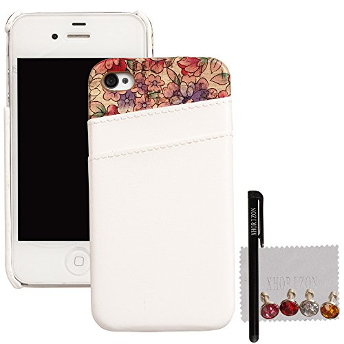 xhorizon® Neu Farbe Misch Leder Tasche Rück Kartenhalter Case Hülle für iPhone 4 4S Weiß