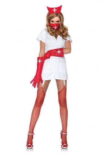 Leg Avenue 85048 - Psycho Krankenschwester Sally Kostüm, Größe L, weiß (Sally Halloween Kostüme)