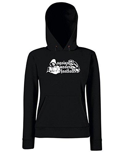 T-Shirtshock - Sweats a capuche Femme T0370 against modern football calcio ultras Noir