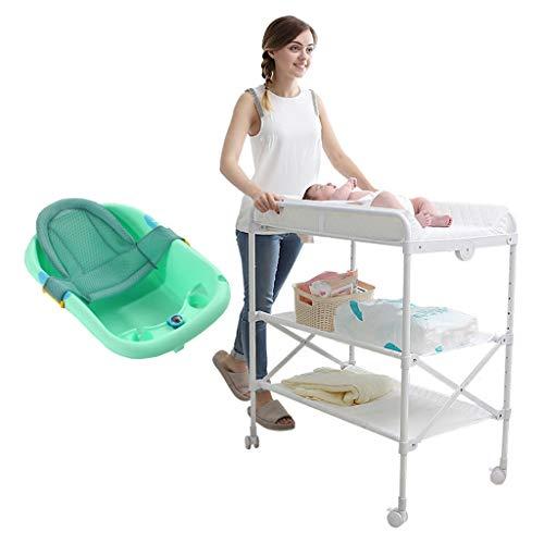 QZ Table À Langer Bébé avec Baignoire Verte, Commodes Garçon Pliant Blanc avec Tapis Et Roues