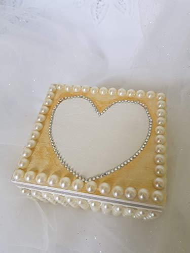 Romantic Rose Blumen Perle Hochzeit Schmuck Ring Kissen ring, komplett handgefertigt. (Sackleinen-schmuck)