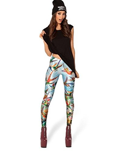 Bestland Damen Legging Tattoo Leggins Sterne Print Style Comic Elastische Stretch Strumpfhose Hüfthose Skinny Hose Enge #4